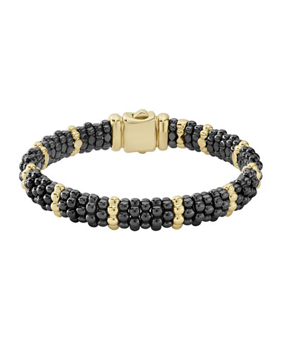 Gold & Black Caviar Collection 18K Gold & Ceramic Beaded Five Station Bracelet in Gold/ Black