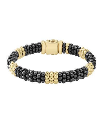 Black Caviar & 18K Gold Station Bracelet