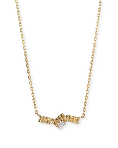14K Gold Zigzag Fireworks Baguette Necklace with Diamond