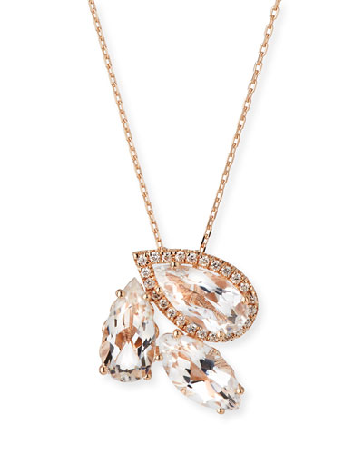 White Topaz & Diamond Cluster Pendant Necklace in 14K Rose Gold