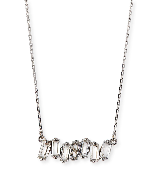 Signature Mini Fireworks White Gold Topaz Bar Necklace