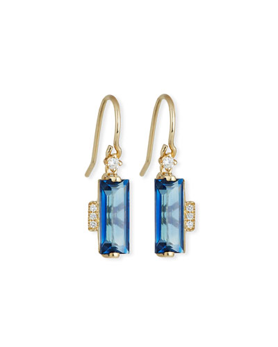English Blue Topaz Baguette Drop Earrings with Diamonds