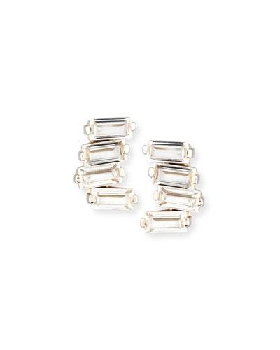 Signature Mini Fireworks Bar Stud Earrings in 14K White Gold