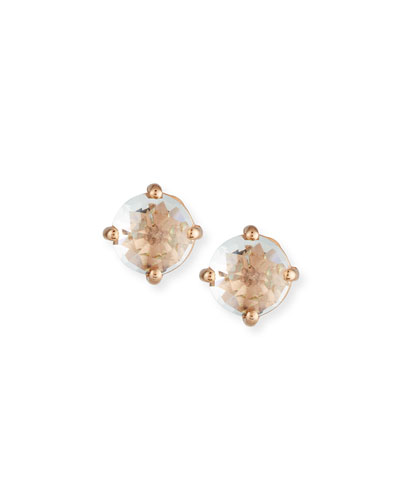 Classic Mini White Topaz Stud Earring in 14K Rose Gold