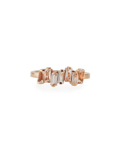 Fireworks Baguette Band Ring with White Topaz in 14K Rose Gold, Size 6.5