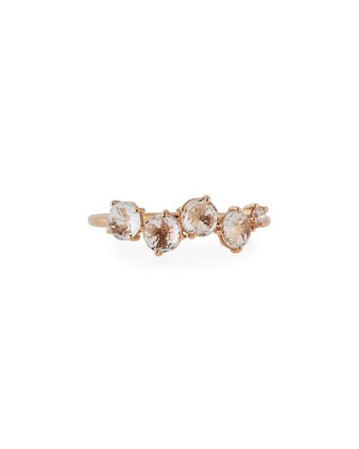 Mini Burst White Topaz Band Ring with White Diamond Accent, Size 6.5