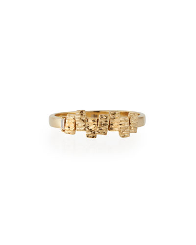 Fireworks 14K Gold Band Ring with White Diamond Baguette, Size 6.5
