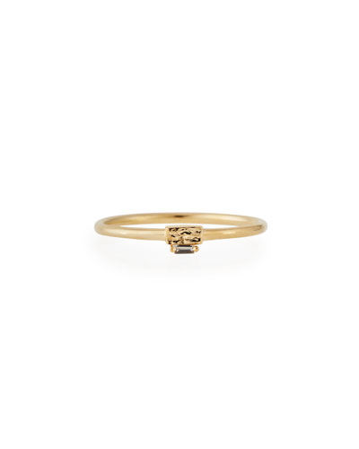 Mini 14K Gold Band Ring with White Diamond Baguette, Size 6.5