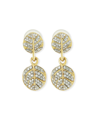 Botanical Double Leaf Drop Earrings with Diamonds