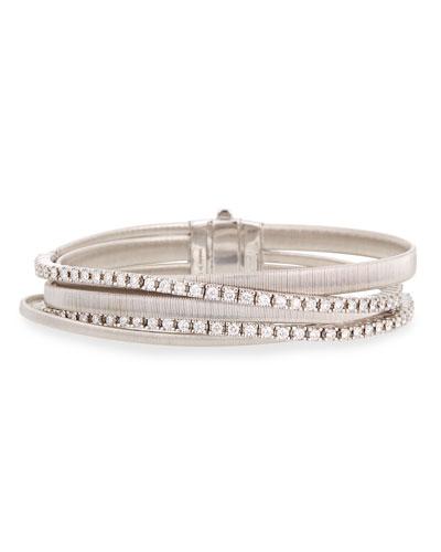 Masai 18k White Gold Five-Strand Diamond Crossover Bracelet