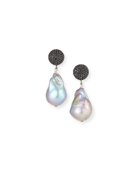 Margo Morrison Black Spinel & Baroque Gray Pearl Drop Earrings