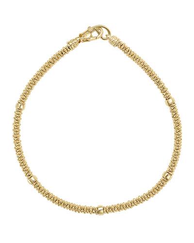 3mm Medium 18K Gold Caviar Rope Bracelet