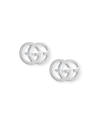18K White Gold Running G Stud Earrings