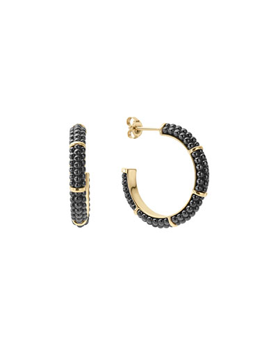 21mm Black Caviar & 18K Gold Hoop Earrings