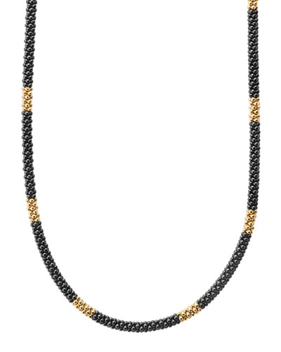 Medium Black Caviar & 18K Gold Station Necklace, 16
