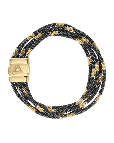 Black Caviar & 18K Gold Five-Strand Bracelet