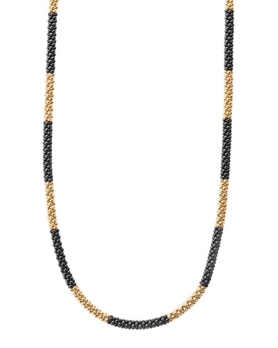 18K Gold & Black Caviar Necklace, 16