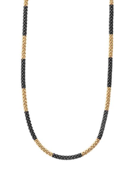 "Lagos 18K Gold & Black Caviar Necklace, 16""L"