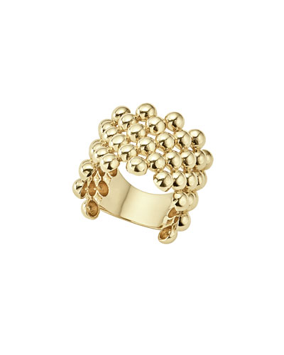 18K Gold Caviar Wide Band Ring, Size 7