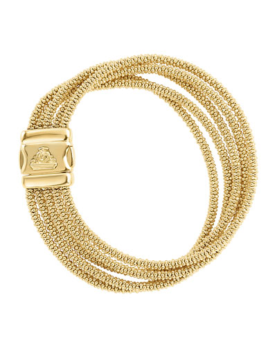 Medium Five-Row 18K Gold Caviar Rope Bracelet