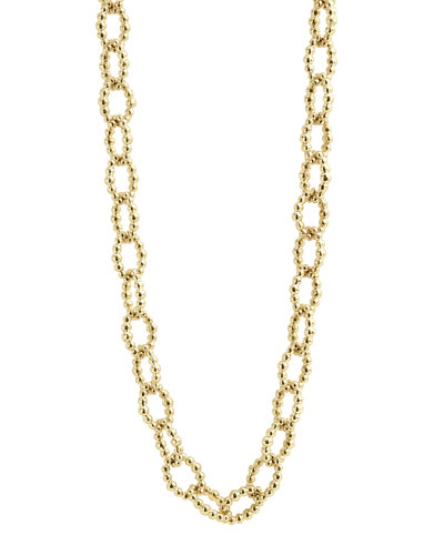 Caviar Small Fluted Oval Link Necklace, 18