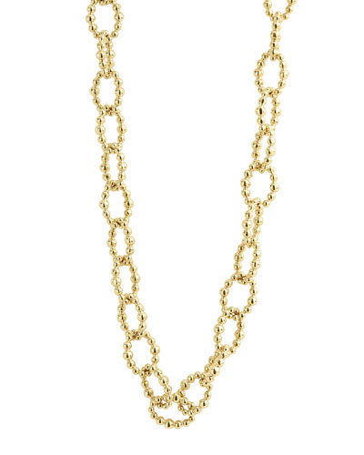 Caviar Large Fluted Oval Link Necklace, 18