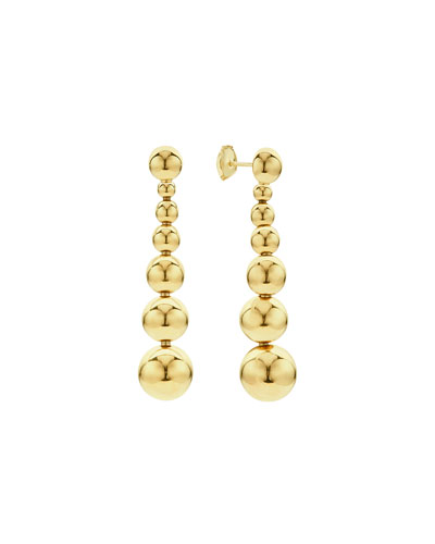18K Gold Caviar Graduated Ball Drop Earrings