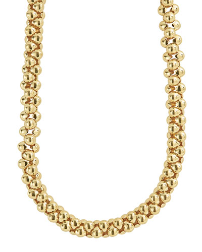 18K Caviar Connected Link Rope Necklace, 16