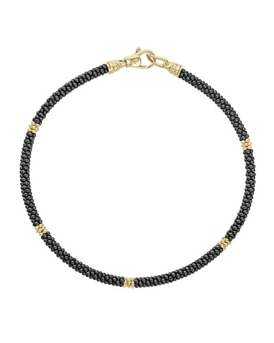 3mm Black Caviar & 18K Gold Rope Bracelet