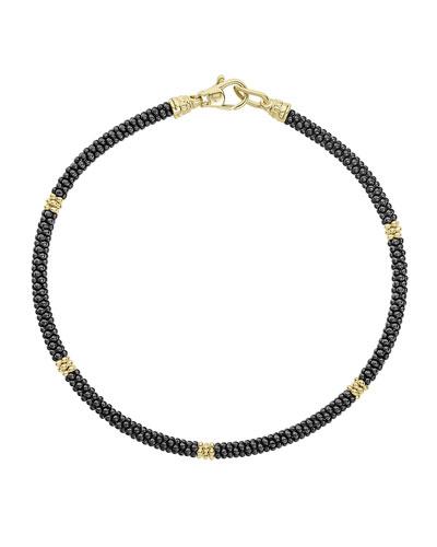 Gold & Black Caviar Collection 18K Gold & Ceramic Rope Bracelet, Black/Gold