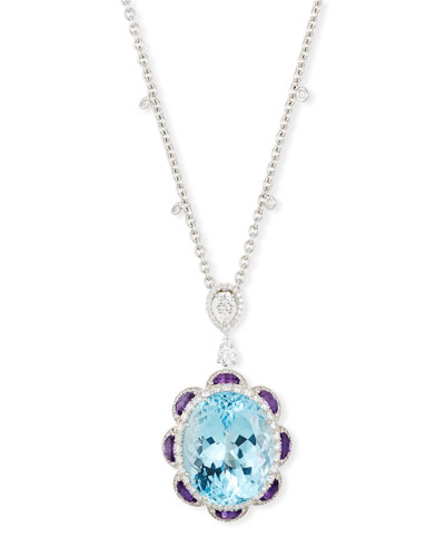 18K White Gold Amethyst, Blue Topaz &  Diamond Necklace