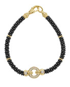 12mm Circle Game Black Caviar Bracelet with Diamonds