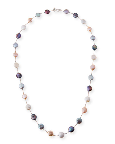 Peacock, Gray & White Pearl Coin Necklace