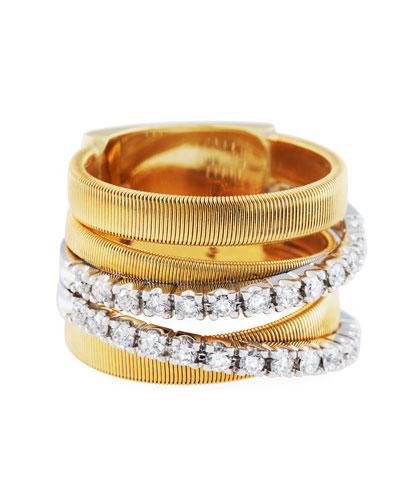 Masai 18k Five-Row Diamond Ring