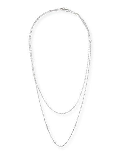 Layered Diamond Briolette Necklace in 18K White Gold, 64