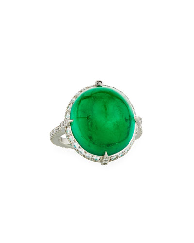 Colombian Emerald Cabochon & Diamond Ring in Platinum, Size 6