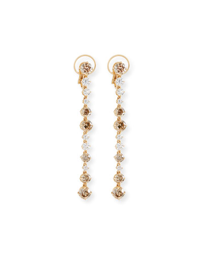 Linear Fancy-Color & White Diamond Drop Earrings
