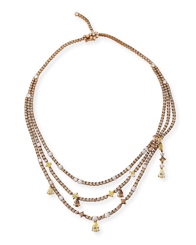 Three-Strand Fancy Diamond Necklace in 18K Rose Gold