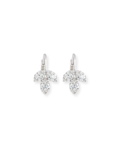18K White Gold Diamond Petal Earrings