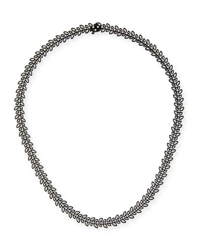 Black Rhodium Vine Necklace with Diamonds