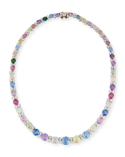 Graduated Sapphire & Diamond Necklace in Platinum