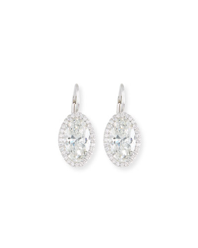 Oval-Cut Diamond Drop Earrings in 18K White Gold