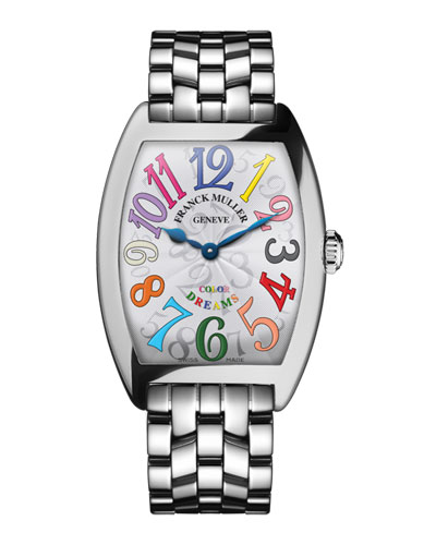 FRANCK MULLER CINTREE CURVEX BRACELET WATCH WITH MULTICOLOR HOUR MARKERS