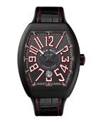 Vanguard Watch with Alligator Strap, Black/Red