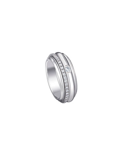 Possession 18K White Gold Turning Ring with Diamonds, Size 6