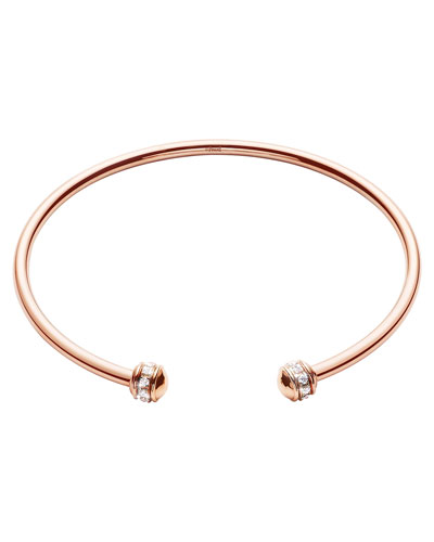Possession Thin 18K Red Gold Open Bangle with Diamonds