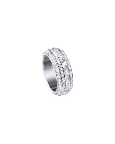 Possession Turning Pave Diamond Band Ring in 18K White Gold, Size 6