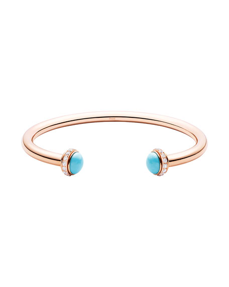 PIAGET Possession Medium Turquoise Open Bangle with Diamonds, Size M