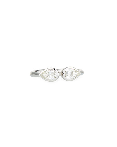 Pear-Shaped Diamond Duo Open Ring in 18K White Gold