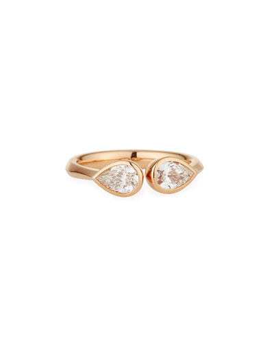 Pear-Shaped Diamond Duo Open Ring in 18K Rose Gold